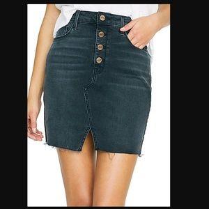NWT Sanctuary Denim Button Fly Skirt~Blk Wash~M